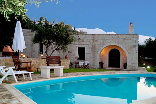 Relax by the private pool of the villa in Maza, Chania