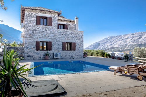 Lux stone built pool villa Mirsini overlooking the mountains