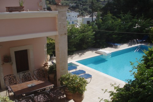 Private pool villa with spacey yard and  panoramic view of the the sea and the village Kamilari