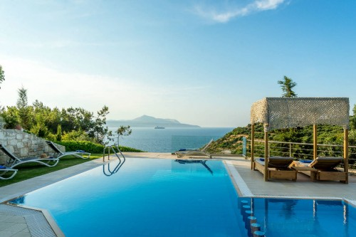 Enjoy the stunning view of the sea at your private heated pool in Plaka, Apokoronas