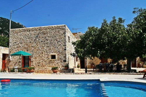 The pool of the traditional villa complex  in  Impro of Sfakia