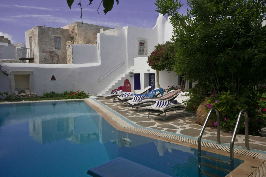 Traditional pool villa in Naousa in Paros island