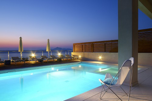 The luxurious pool area of the villa in Kokkino Chorio