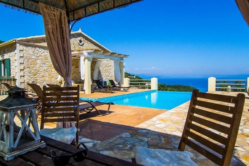 Stone pool villa Rose  with a stunning view of Paxoi island